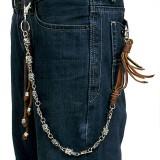 Chaine de jean gothique 06 - Cuir marron avec lanières