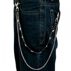 Chaine de jean gothique 11 - Crâne et petites pointes
