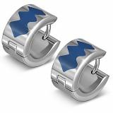 Anneaux oreilles acier 154 - Motif bleu