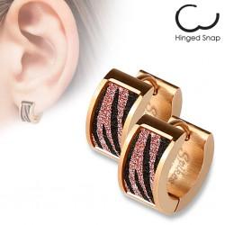 Anneaux oreilles acier 39 - PVD rose zèbre