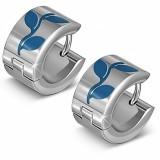 Anneaux oreilles acier 164 - Plante bleue
