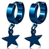 Anneaux oreilles acier 178 - Bleu étoile