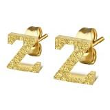 Clou pour oreille en acier lettre gold ip Z