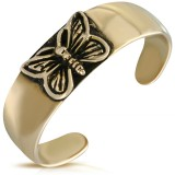 Bague phalange, pied bronze 03 - Pleine avec papillon