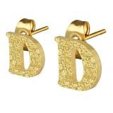 Clou pour oreille en acier lettre gold ip D