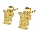 Clou pour oreille en acier lettre gold ip F