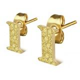 Clou pour oreille en acier lettre gold ip I