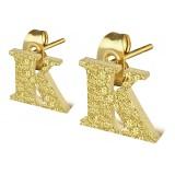 Clou pour oreille en acier lettre gold ip K