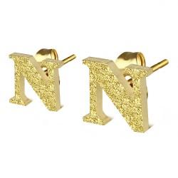 Clou pour oreille en acier lettre gold ip N