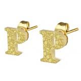 Clou pour oreille en acier lettre gold ip P