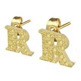 Clou pour oreille en acier lettre gold ip R