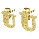 Clou pour oreille en acier lettre gold ip U