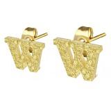 Clou pour oreille en acier lettre gold ip W