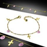 Chaine de cheville 31 - Gold-IP cercles roses et croix