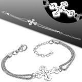 Chaine de cheville 74 - Double chaine croix médiévale