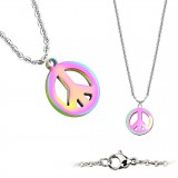 Collier en acier 12 - Peace and love PVD rainbow