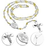 Collier en acier 18 - Croix avec Jesus gold-ip