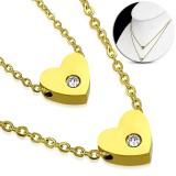 Collier en acier 20 - Double coeur zircone gold-ip