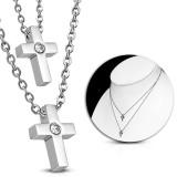 Collier en acier 22 - Double croix zircone