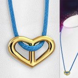 Collier en acier 23 - Coeur gold ip cordon bleu