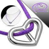 Collier en acier 24 - Coeur cordon lilas