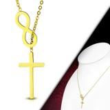Collier en acier 32 - Croix et signe infini gold-ip