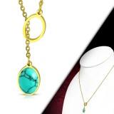 Collier en acier 33 - Turquoise deux ovales gold-ip