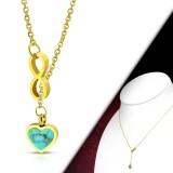 Collier en acier 37 - Coeur turquoise et infini gold-ip