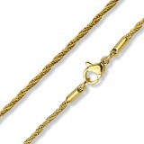 Chaine acier 65 - Gold-ip mailles 03mm