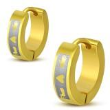 Anneaux oreilles acier 18 - Gold ip coeur