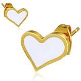 Clous en acier 100 - Gold ip coeur fond blanc