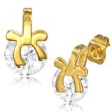 Clous en acier 104 - Gold ip zircone noeud papillon