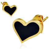 Clous en acier 153 - Gold ip coeur fond noir