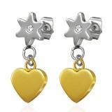Clous pendants 05 - Coeur jaune et fleur