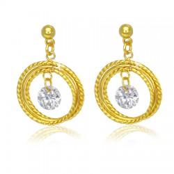 Clous pendants 45 - Gold iP cercles et zircone