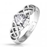 Bague coeur avec couronne et lignes celtiques (10)