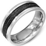 Bague PVD 08 - Centre satin noir et bords gris