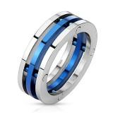 Bague PVD 13 - Trois anneaux dont un bleu