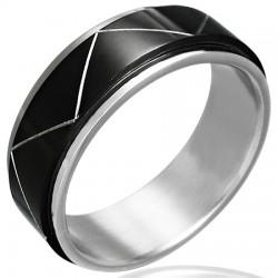 Bague PVD 15 - Black-line ligne zig-zag