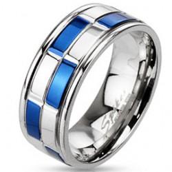 Bague PVD 29 - Rectangles bleus et blancs