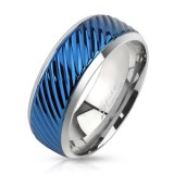 Bague PVD 72 - Bleu rayé bords gris
