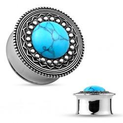 Plug en acier centre turquoise
