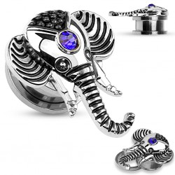 Plug en acier éléphant gem bleu