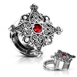 Plug acier dévissable deluxe gem rouge
