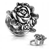 Plug dévissable en acier bouquet de rose