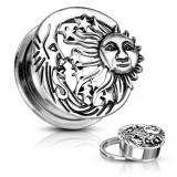 Plug dévissable en acier soleil et lune