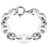 Bracelet céramique 16 - Chaines acier et blanc ovales