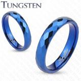 Bague en tungstène 28 - Bleue fines facettes