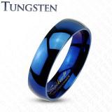 Bague en tungstène 29 - Bleue simple fine