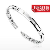 Bracelet en tungstène 03 - Fin argenté et zircones